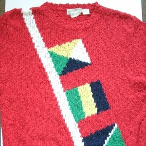 Vintage 1980s Sweater Acrylic Red Nautical Flags
